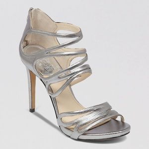 Vince Camuto Fortuner Strappy Silver Heels NWOT